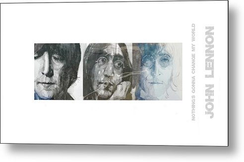John Lennon Metal Print featuring the mixed media John Lennon Triptych by Paul Lovering