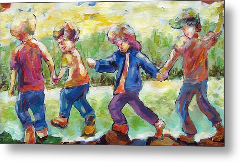 Children Just Having Fun Metal Print featuring the painting Just Having Fun by Naomi Gerrard