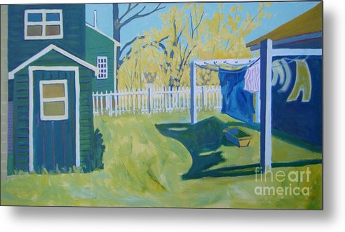 Backyard Metal Print featuring the painting Line Of Wash by Debra Bretton Robinson