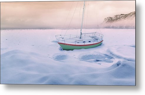 Boat Metal Print featuring the photograph Memories of Seasons Past - Prisoner of Ice by John Poon