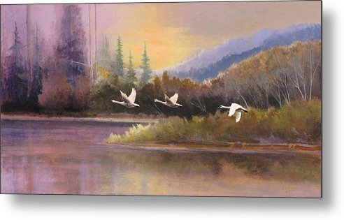 Landscape Metal Print featuring the painting Northern Flight by Dalas Klein