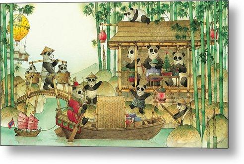 Christmas Greeting Cards Panda China Metal Print featuring the painting Pandabears Christmas 03 by Kestutis Kasparavicius
