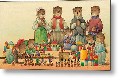 Christmas Greeting Cards Teddybear Metal Print featuring the painting Teddybears and Bears Christmas by Kestutis Kasparavicius