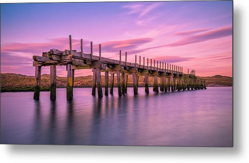 Old Bridge Metal Print featuring the photograph The Old Bridge at Sunset by Roy McPeak