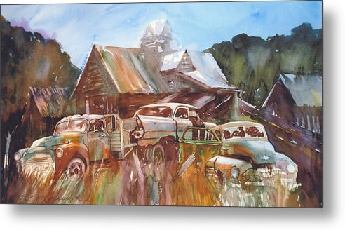 Chev Plymouth House Barn Metal Print featuring the painting Up the Road a Bit by Ron Morrison