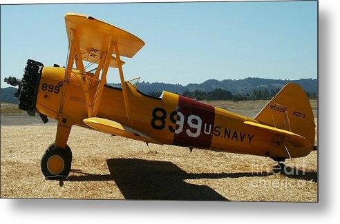 Diane Berry Metal Print featuring the painting US Navy biplane by Diane E Berry