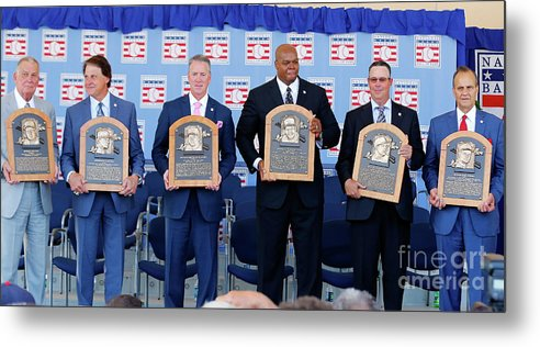 American League Baseball Metal Print featuring the photograph 2014 Baseball Hall Of Fame Induction by Jim Mcisaac
