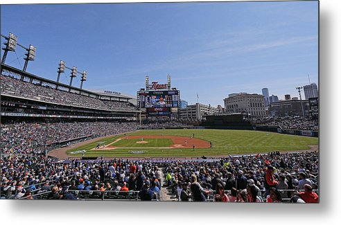American League Baseball Metal Print featuring the photograph Kansas City Royals V Detroit Tigers by Leon Halip