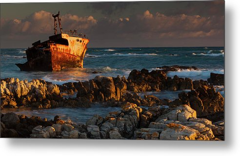 Non-urban Scene Metal Print featuring the photograph A Rusting Wreck, An Abandoned Ship Off by Mint Images - Art Wolfe