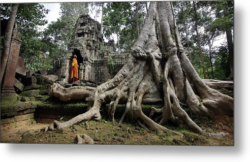 Orange Color Metal Print featuring the photograph Buddhist Monk At Angkor Wat Temple by Timothy Allen