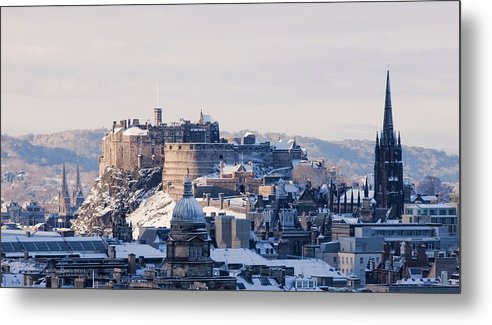Snow Metal Print featuring the photograph Edinburgh Castle by Davidhills