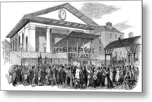 Engraving Metal Print featuring the drawing Election Hustings In Covent Garden by Print Collector