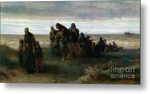 Drowning Metal Print featuring the drawing Fishermen Carrying A Drowned Man by Print Collector