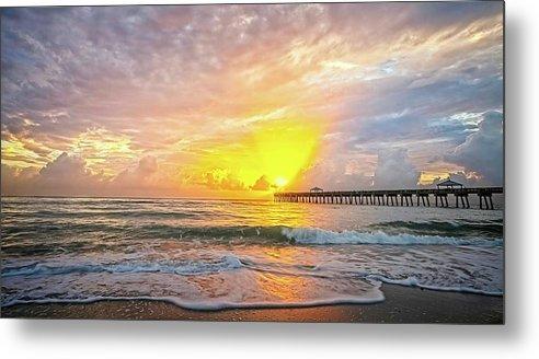 Beach Metal Print featuring the photograph Juno Beach Pier Sunrise 2 by Steve DaPonte