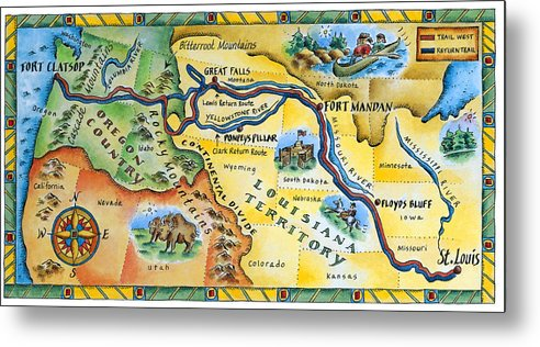 Watercolor Painting Metal Print featuring the digital art Lewis & Clark Expedition Map by Jennifer Thermes