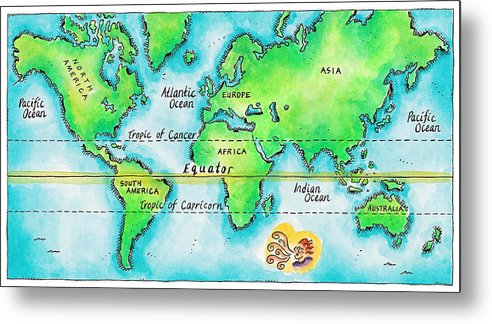 Watercolor Painting Metal Print featuring the digital art Map Of The World & Equator by Jennifer Thermes