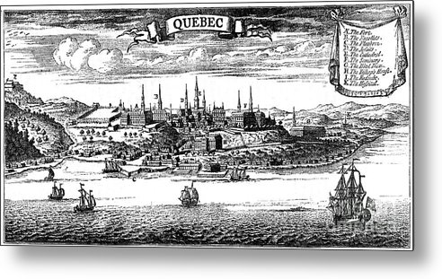 Engraving Metal Print featuring the drawing Old View Of Quebec, 1730 C1880 by Print Collector