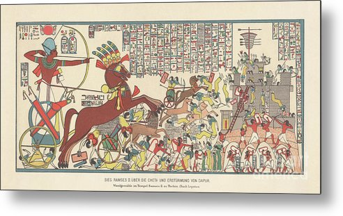 Horse Metal Print featuring the digital art Siege Of Dapur By Ramesses II 1269 Bc by Zu 09