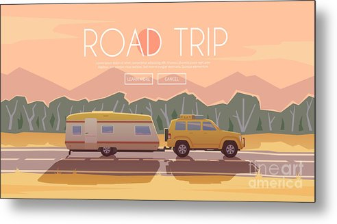 Camping Metal Print featuring the digital art Vector Flat Web Banner On The Theme by Red Monkey