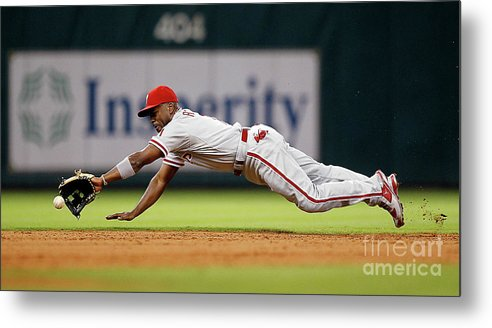 Sports Ball Metal Print featuring the photograph Brett Myers and Jimmy Rollins by Bob Levey