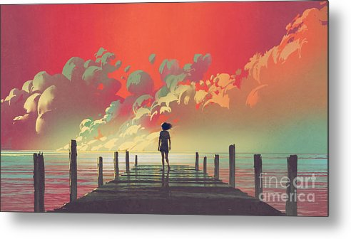 Illustration Metal Print featuring the painting My Dream Place by Tithi Luadthong