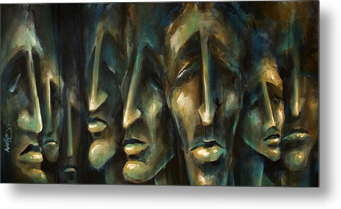 Expressionist Metal Print featuring the painting ' Jury of Eight ' by Michael Lang