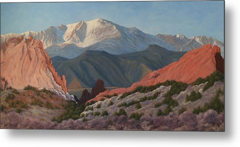 Pikes Peak Metal Print featuring the painting 120402-1836 Pikes Peak from the Garden of the Gods by Kenneth Shanika