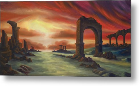Sunset Metal Print featuring the painting Another Fallen Empire by James Christopher Hill