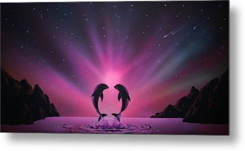 Aurora Borealis Metal Print featuring the painting Aurora Borealis with two Dolphins by Thomas Kolendra