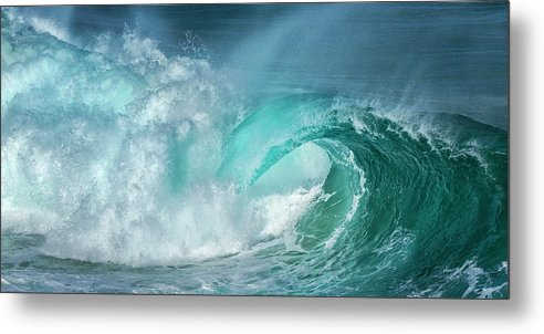 Panoramic Metal Print featuring the photograph Barrel In The Surf by Simon Phelps Photography