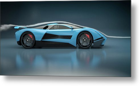 Aerodynamic Metal Print featuring the photograph Blue Sports Car In A Wind Tunnel by Mevans