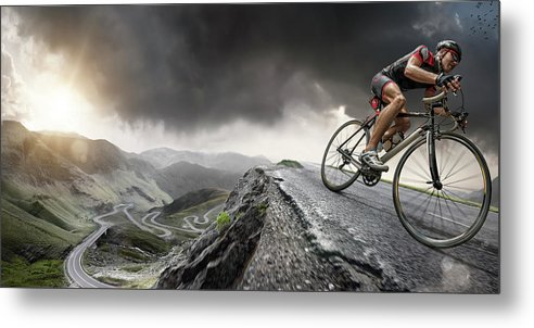 Sports Helmet Metal Print featuring the photograph Cyclist Climbs To The Top by Peepo