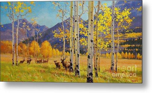 Elk Herd Metal Print featuring the painting Elk Herd In Aspen Grove by Gary Kim