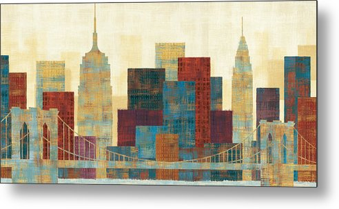 Blue Metal Print featuring the painting Majestic City by Michael Mullan