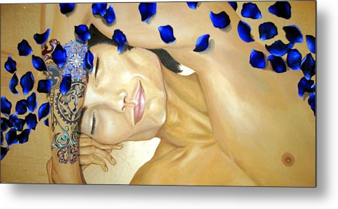 Original Metal Print featuring the painting Relaxed by Stephanie LeVasseur
