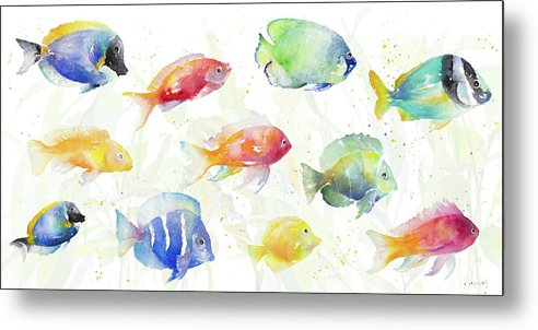 School Metal Print featuring the painting School Of Tropical Fish by Lanie Loreth