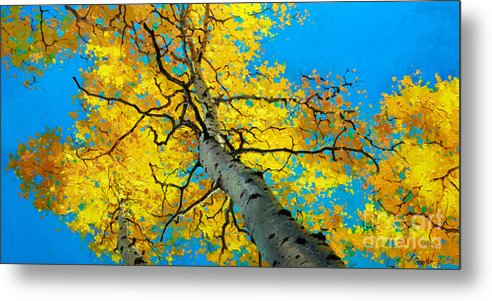 Aspen Canopy Metal Print featuring the painting Sky High 3 by Gary Kim