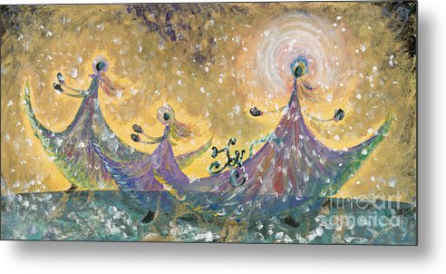 Joy Metal Print featuring the painting Snow Joy by Nadine Rippelmeyer
