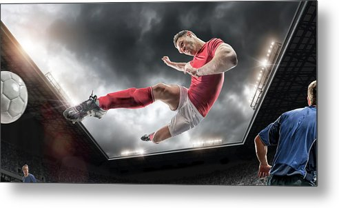 Soccer Uniform Metal Print featuring the photograph Soccer Kick by Peepo