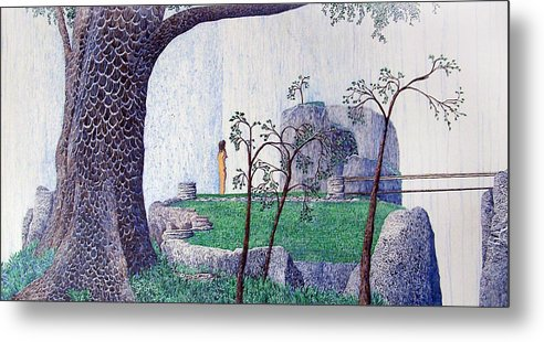 Landscape Metal Print featuring the painting The Yearning Tree by A Robert Malcom