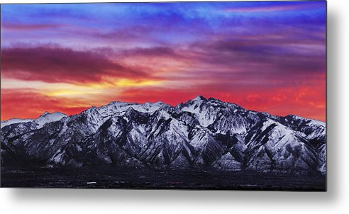 Sky Metal Print featuring the photograph Wasatch Sunrise 2x1 by Chad Dutson