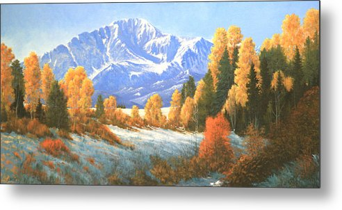 Pikes Peak Metal Print featuring the painting Autumn's Song - Pikes Peak 111119-1836 by Kenneth Shanika