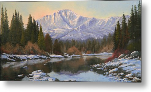 Pikes Peak Metal Print featuring the painting November Reflections - Pikes Peak  111101-1224 by Kenneth Shanika