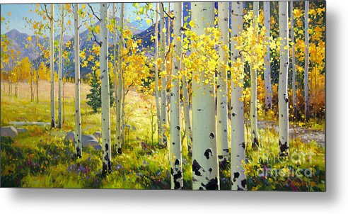 Aspen Oil Painting Birch Trees Gary Kim Oil Print Art Woods Fall Autumn Tree Panorama Sunset Beautiful Beauty Yellow Red Orange Fall Leaves Foliage Autumn Leaf Color Mountain Oil Painting Original Art Horizontal Landscape National Park America Morning Nature Wallpaper Outdoor Panoramic Peaceful Scenic Sky Sun Time Travel Vacation View Season Bright Autumn National Park Southwest Mountain Clouds Cloudy Landscape Afternoon Aspen Grove Natural Peak Painting Oil Original Vibrant Texture Reflections Metal Print featuring the painting Afternoon Aspen Grove by Gary Kim