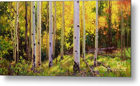 Aspen Forest Tree Metal Print featuring the painting Aspen Symphony by Gary Kim