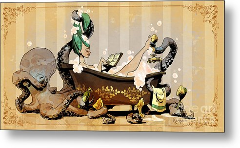Steampunk Metal Print featuring the digital art Bath Time With Otto by Brian Kesinger