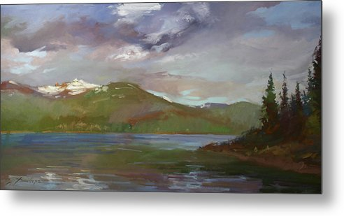 Murals Metal Print featuring the painting Chimney Rock at Priest Lake Plein Air by Betty Jean Billups