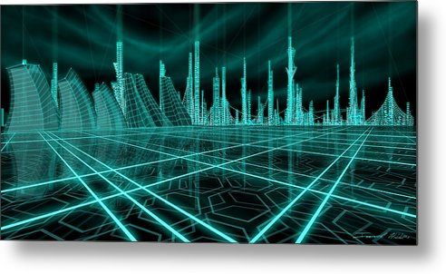 Science Fiction City Metal Print featuring the painting Cityscape 2010 Alpha by James Christopher Hill