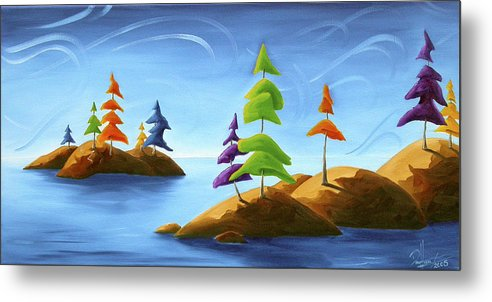 Landscape Metal Print featuring the painting Island Carnival by Richard Hoedl
