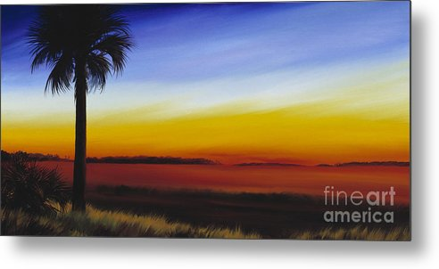 Palmetto Tree Metal Print featuring the painting Island River Palmetto by James Christopher Hill